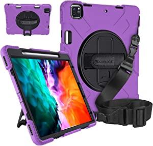 GROLEOA iPad Pro 12.9 Case 4th/3rd Generation with 2 Strap Pencil Holder Support Charging 360° Rotating Stand Handle Shockproof Rugged Case Military-grade Protection for iPad Pro 12.9 2020/2018 Purple