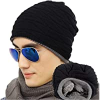 Popinjay® Men's/Womens's Soft Lined Thick Knit Woolen Skull Cap Warm Winter Slouchy Latest Beanies Hat