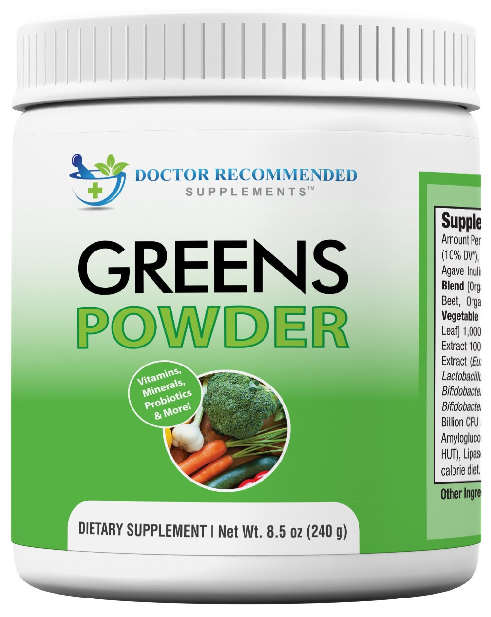 Doctor Recommended Greens Powder - Whole Food Nutritional Supplement - Probiotics and Digestive Enzymes - Berry Taste - Gluten-Free, Non-GMO, Dairy-Free, Caffeine-Free, No Artificial Sweeteners by DOCTOR RECOMMENDED SUPPLEMENTS