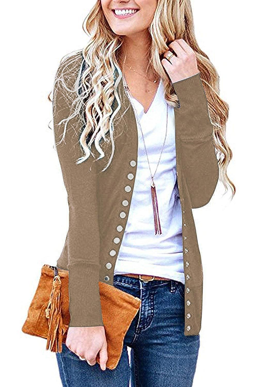 Aswinfon Strickjacke Cardigan Damen Langarm Elegante Herbst mit Kn/öpfen Strickjacken Sweater Strick