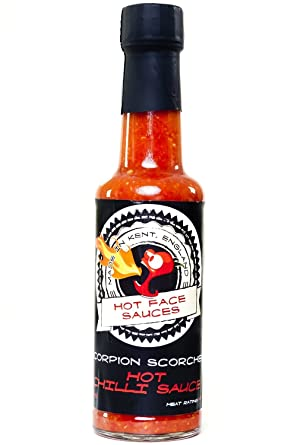 Escorpión Scorcher salsa de chiles calientes - Hecho con frescos Trinidad Scorpion Moruga Chiles 150ml