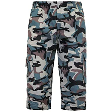 52a66eb5 Kids 3/4 Camouflage Shorts Fully Elasticated Boys & Girls Army Combat Cargo  Pant[