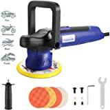 Himimi Polisher, 6 Inch Car Buffer, Orbital Polisher with 6 Variable Speed 2000-6400RPM, Detachable Handle, 4 Pads Ideal…