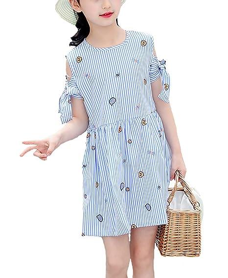 204b2333b Twippo Vestido Para Niña Chicas Casual Azul Verano: Amazon.es: Ropa y  accesorios