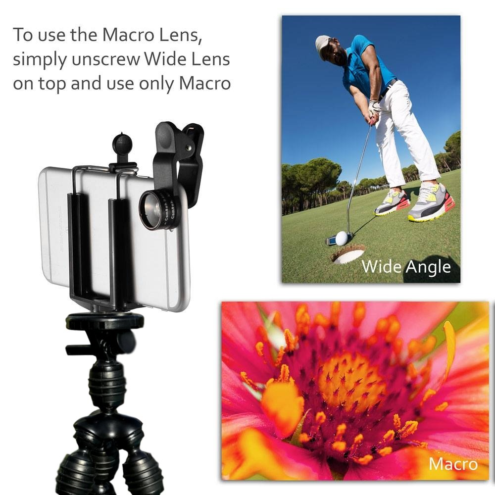 CamRah | Cell Phone Smartphone Tripod and 3 Universal Lens Kit | Includes Fisheye, Wide Angle, and Macro Lenses | 2 Extra Lens Clips | Bonus Octopus Tripod and Photo Tips | Comes with Storage Bag by Cam Rah (Image #2)