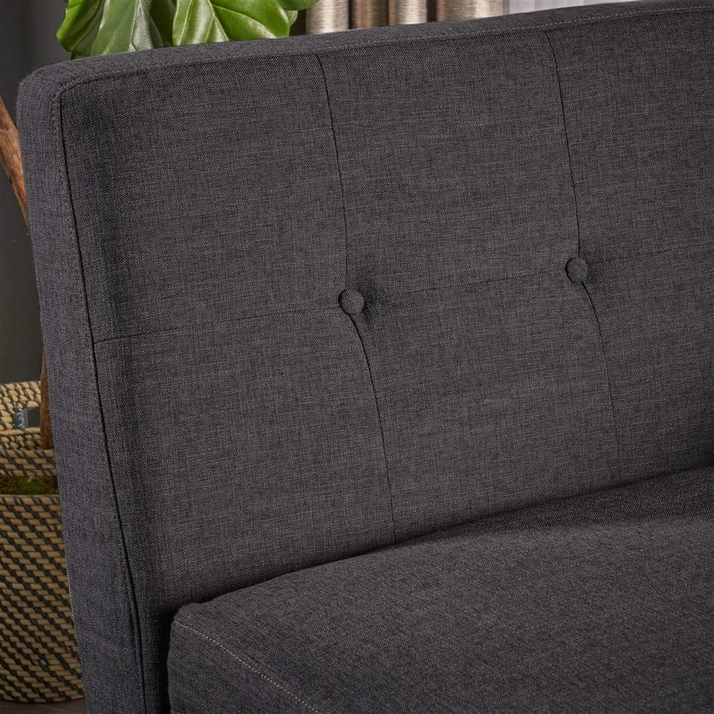 Noble House Stormi Chaise Lounge in Muted Dark Gray and Walnut
