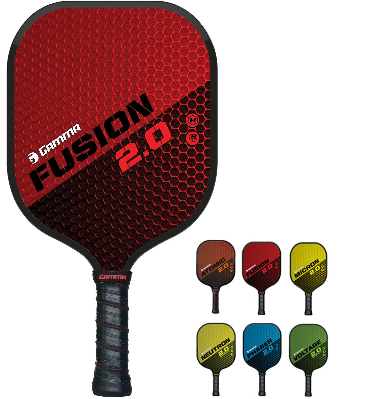 GAMMA Sports 2.0 Pickleball Paddles: Fusion 2.0 Pickleball Rackets - Textured Fiberglass Face - Mens and Womens Pickle Ball Racquet - Indoor and Outdoor Racket - Red Pickle-Ball Paddle - 8 oz