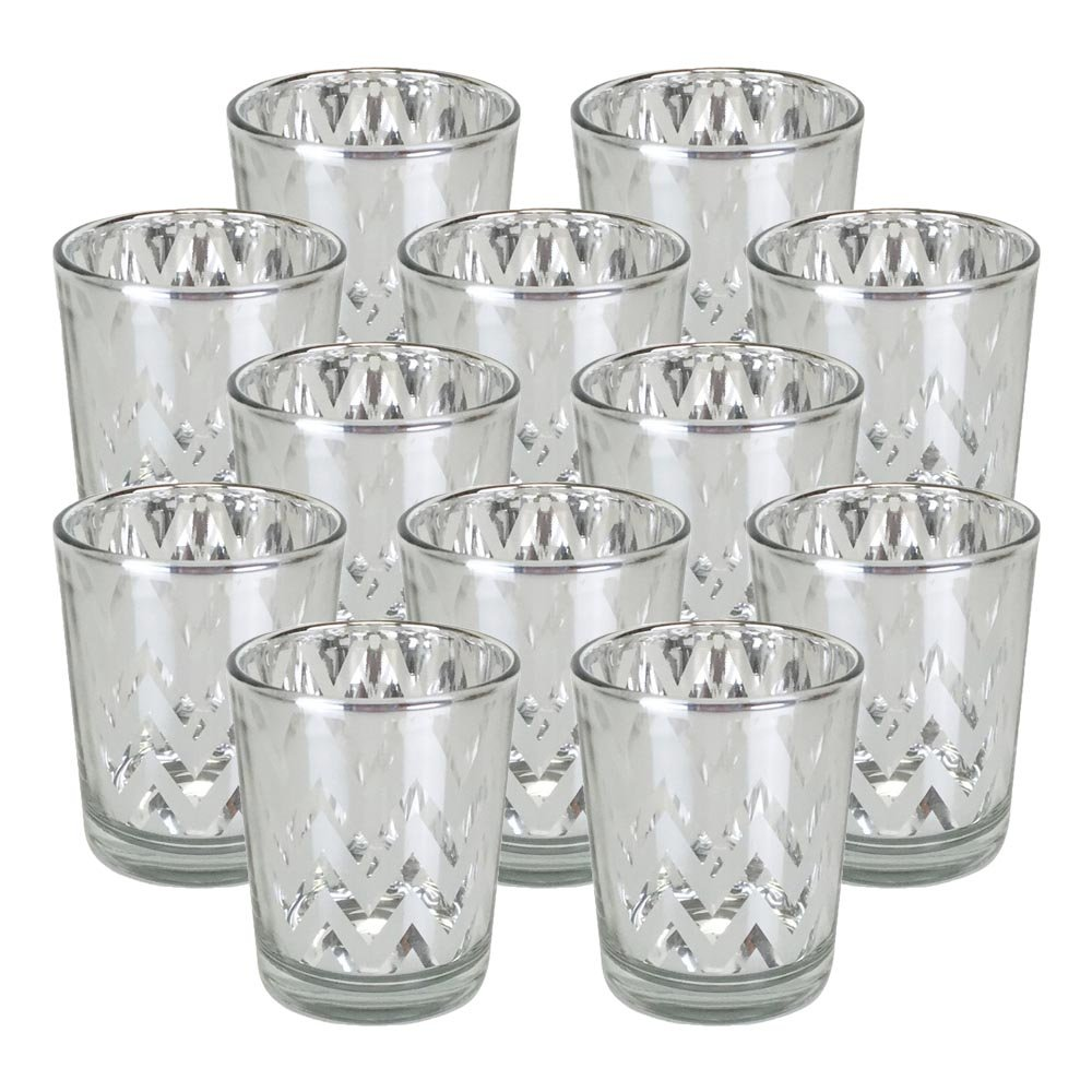 Just Artifacts GlassVotiveCandle Holder 2.75''H(12pcs,Chevron Silver) - Mercury Glass Votive Tealight Candle Holders for Weddings, Parties and Home Decor