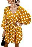 Vestido Informal de Lunares de Verano para Mujer Mini Vestidos de Fiesta Elegantes con Cuello en V