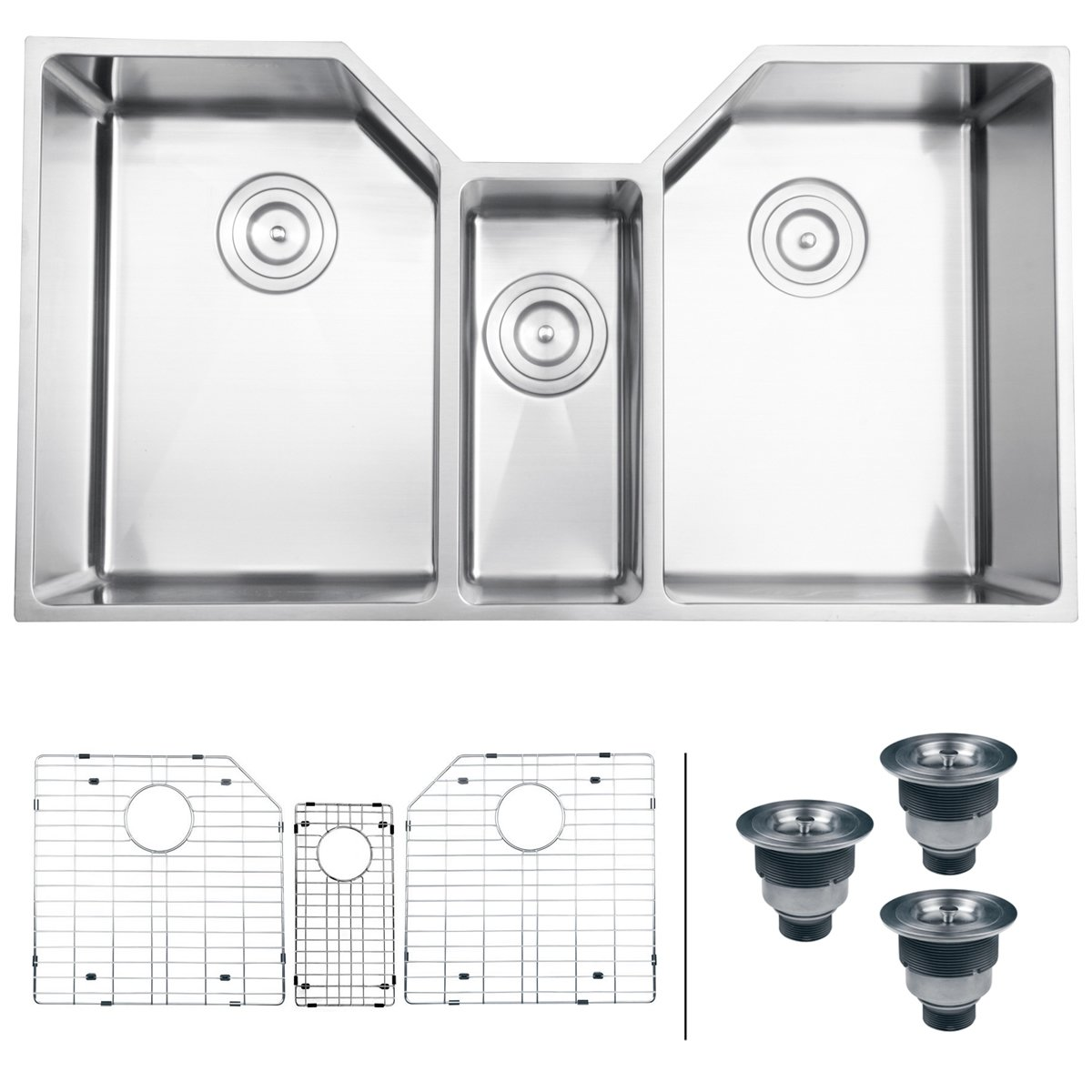 ruvati rvh8500 undermount 16 gauge 35   kitchen sink triple bowl stainless steel   double bowl sinks   amazon com ruvati rvh8500 undermount 16 gauge 35   kitchen sink triple bowl      rh   amazon com