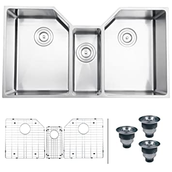 ruvati rvh8500 undermount 16 gauge 35 u0026quot  kitchen sink triple bowl stainless steel ruvati rvh8500 undermount 16 gauge 35   kitchen sink triple bowl      rh   amazon com