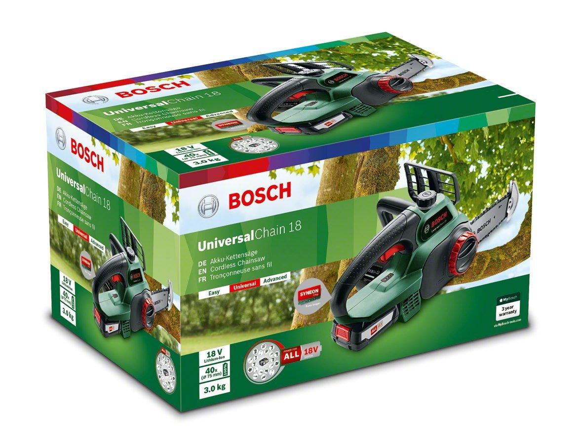 Bosch UniversalChain 18 Sierra de Cadena a Batería, con Batería y Cargador, 18 V