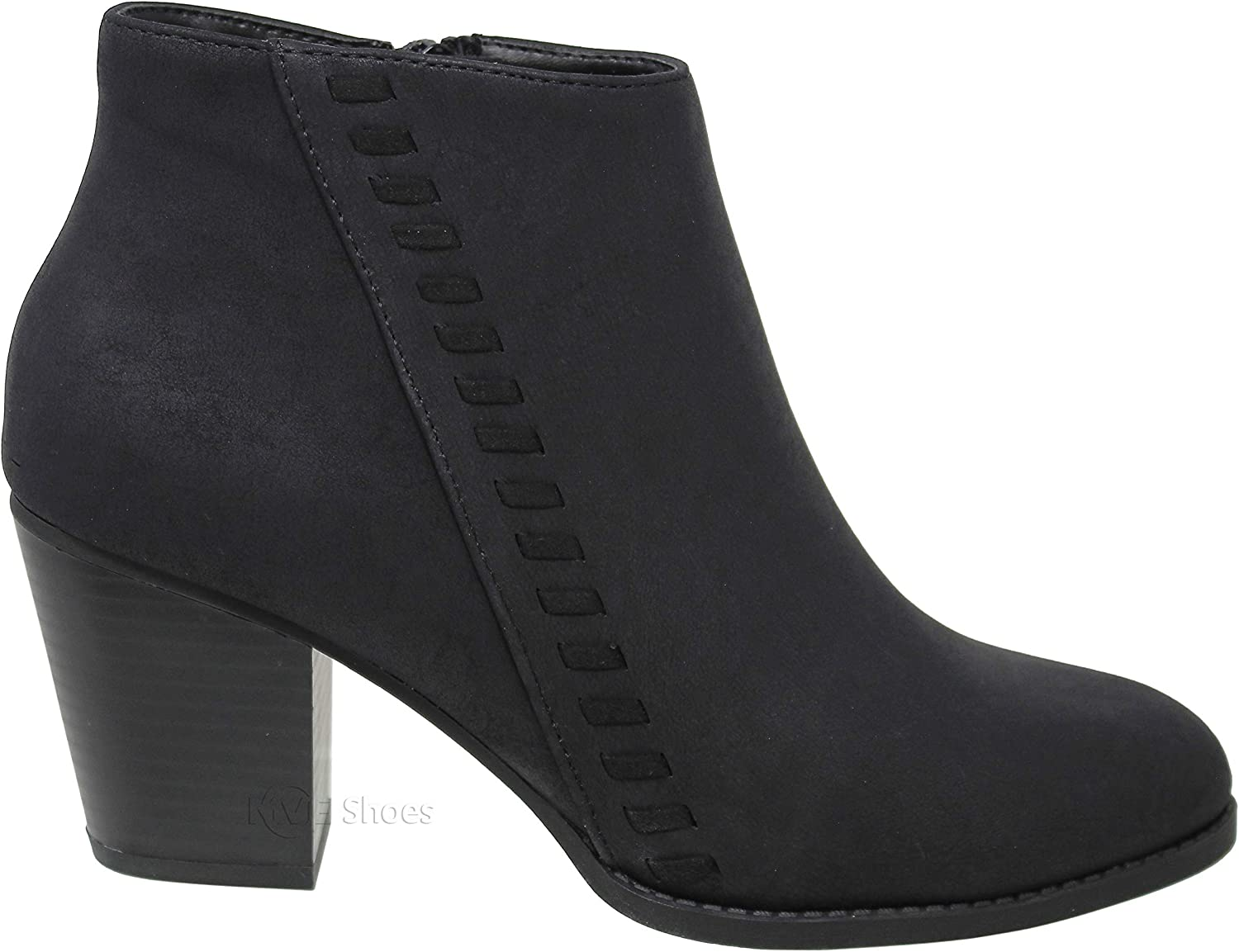 MVE Shoes Womens Bootie with Heel with Laces and Side Zipper