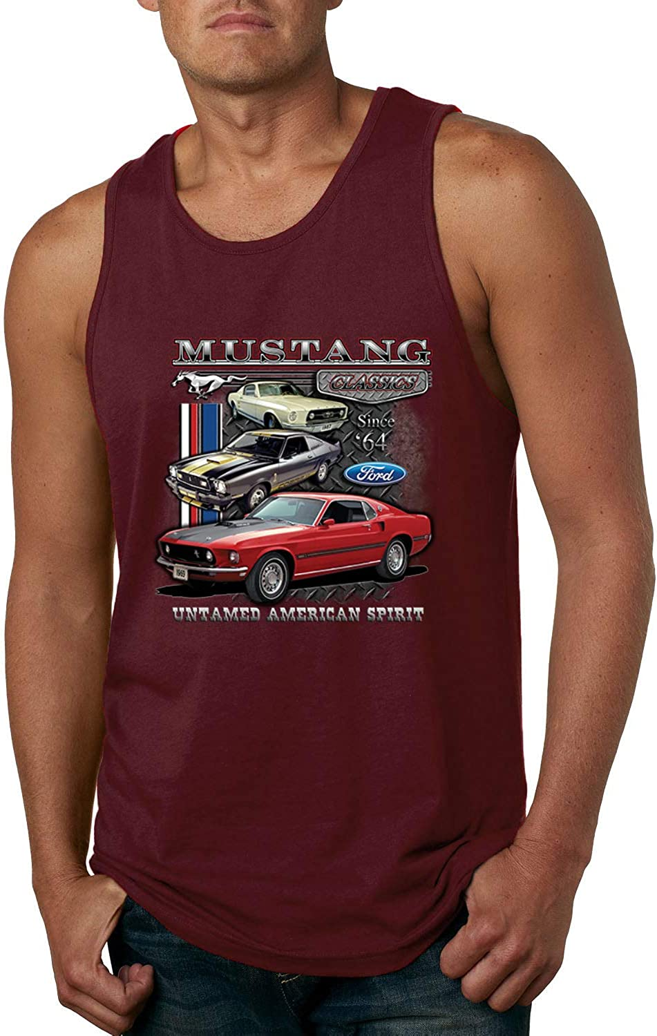 Ford Mustang 64 Classics Untamed American Spirit   Mens Cars and Trucks Graphic Tank Top