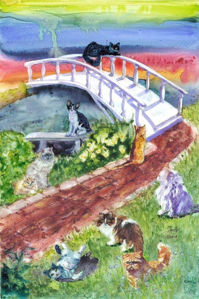 Rainbow Bridge Pet Sympathy Card for Cats