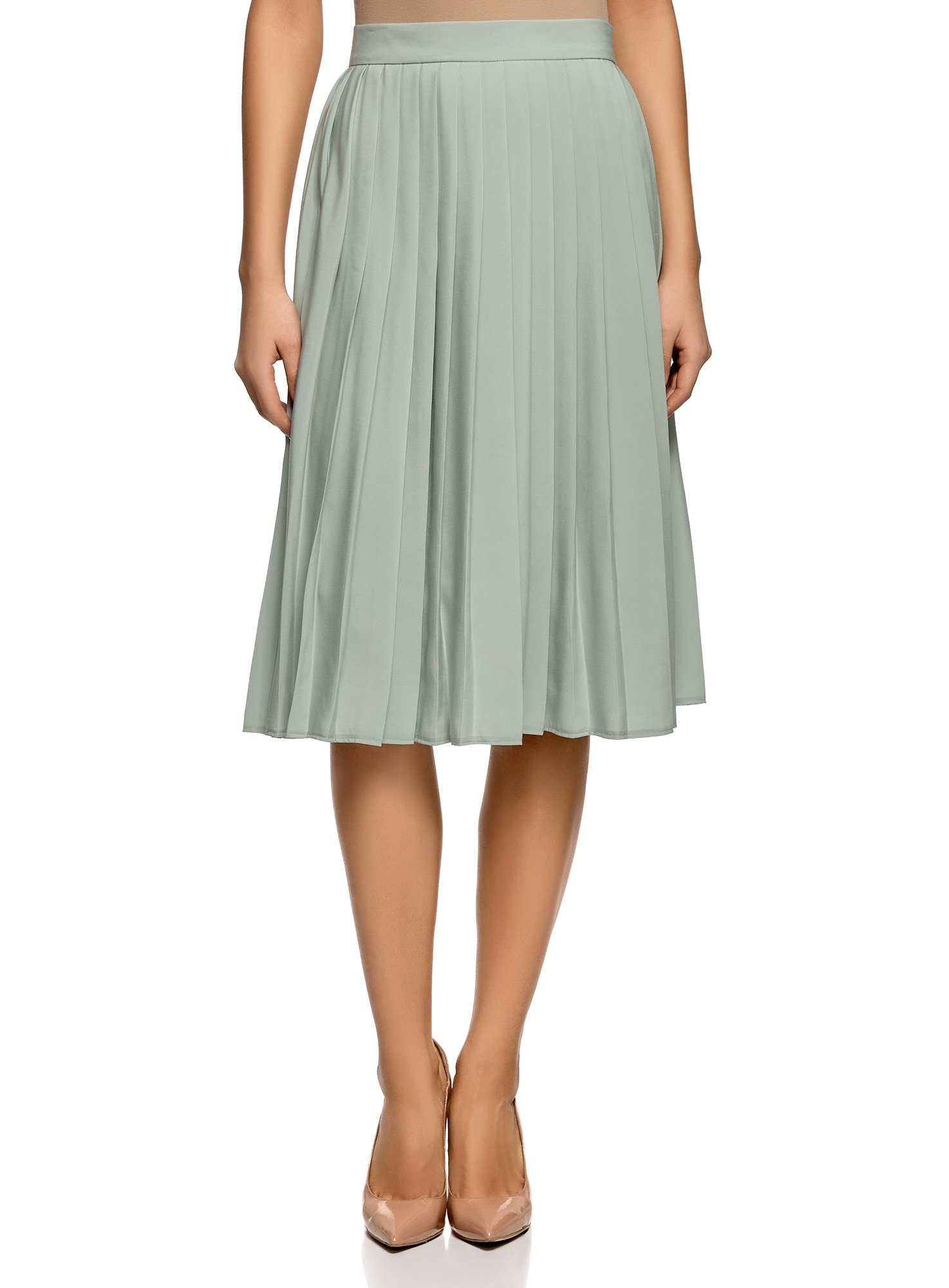 oodji Collection Women's Pleated Midi Skirt, Green, 8