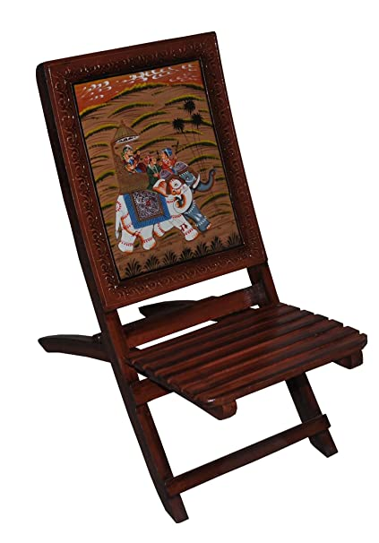 Delicieux Rajasthali Indian Wooden Chair Handicraft Hand Carved Royal Elephant Riding  Painted Folding Wooden Chairs
