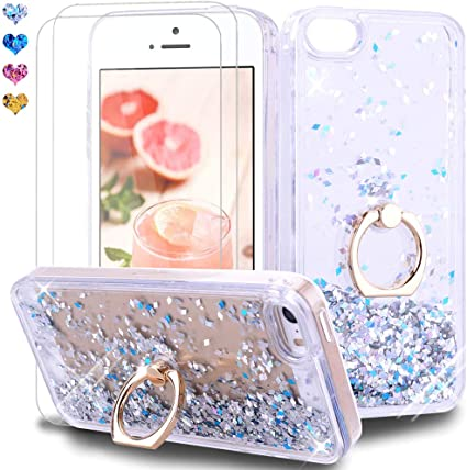 Feyten Cover iPhone 5/ iPhone 5S/ iPhone SE con Vetro Temperato [2 Pack], Bling Liquido Custodia Brillantini Luminosa Sabbie Case per iPhone 5/iPhone ...