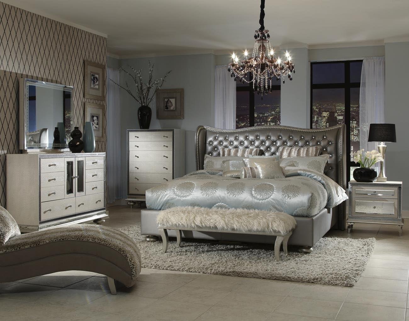 Amazon Com Hollywood Swank Queen Graphite 4 Piece Bedroom Set By Aico Amini Furniture Decor