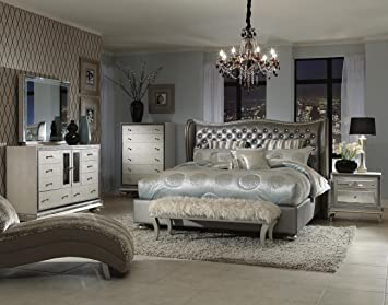 Elegant Amazon.com: Hollywood Swank Queen Graphite Bedroom Set By Aico Amini:  Kitchen U0026 Dining