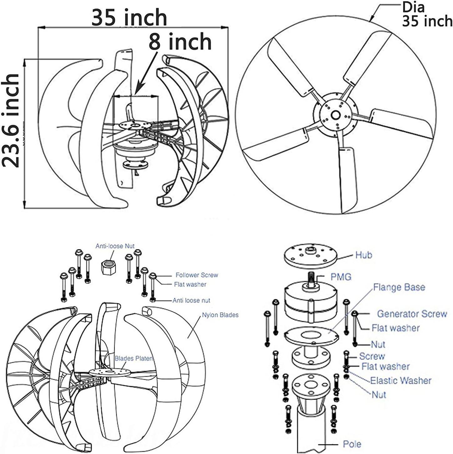 12V Kit de generador de turbinas e/ólicas 300W 3 cuchillas DC 12V//24V//48V Fuente de alimentaci/ón peque/ña Generador de energ/ía e/ólica