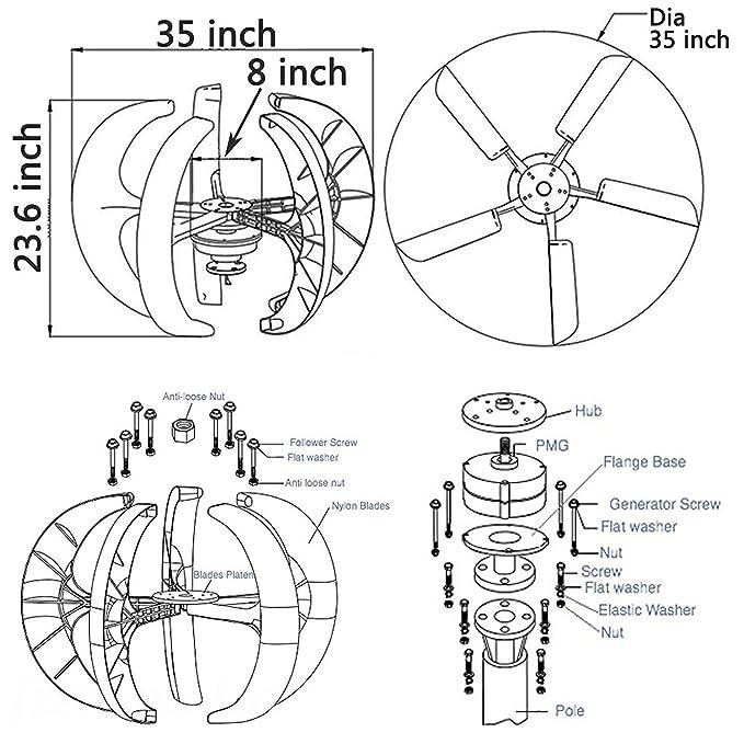 Foraver 300w Dc 12v Wind Turbine Generator Kit 5 Blades Vertical