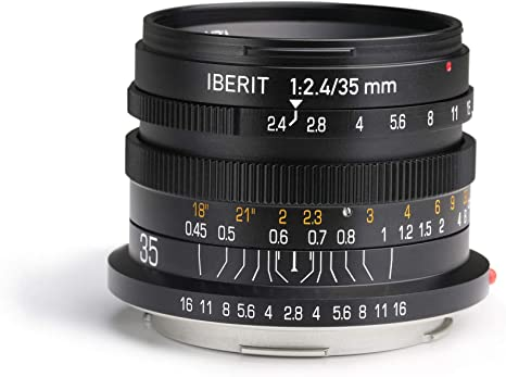 Black KIPON IBERIT 75mm F2.4 Full Frame Lenses for Fuji X Mount Mirrorless Camera