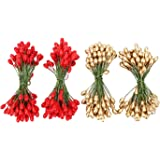 Shappy 400 Pieces Elliptical Artificial Holly Berries on Wire for Christmas Decoration and Floral Arrangement, Red and Gold