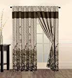 8 Pc Modern Brown Beige Bamboo Leaves Tropical Curtain Set