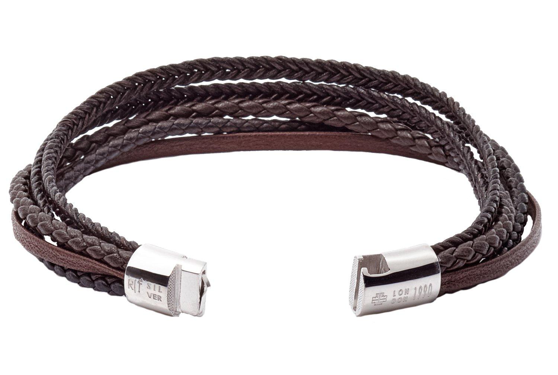 Tateossian Cobra Italian Leather Multi Strand Bracelet - Brown, Medium 18cm by Tateossian (Image #3)