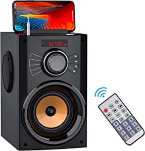 Portable Bluetooth Speakers with Subwoofer Rich Bass Wireless Stereo Outdoor Speakers Support Remote Control FM Radio TF Card LED Lights MP3 Player Powerful Speaker for Home Party iPhone Computer PC