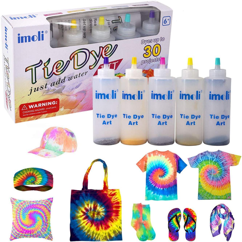 imoli Tie Dye Kit - 5 Colores neón Pinturas Textiles de Tela permanentes, Juego de teñido Anudado de un Solo Paso para niños, Adultos, Bricolaje de ...