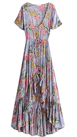 Everkaki Summer Lotus Dress Boho Maxi Dress Gypsy Collective Short Sleeve Print Dress V Neck High