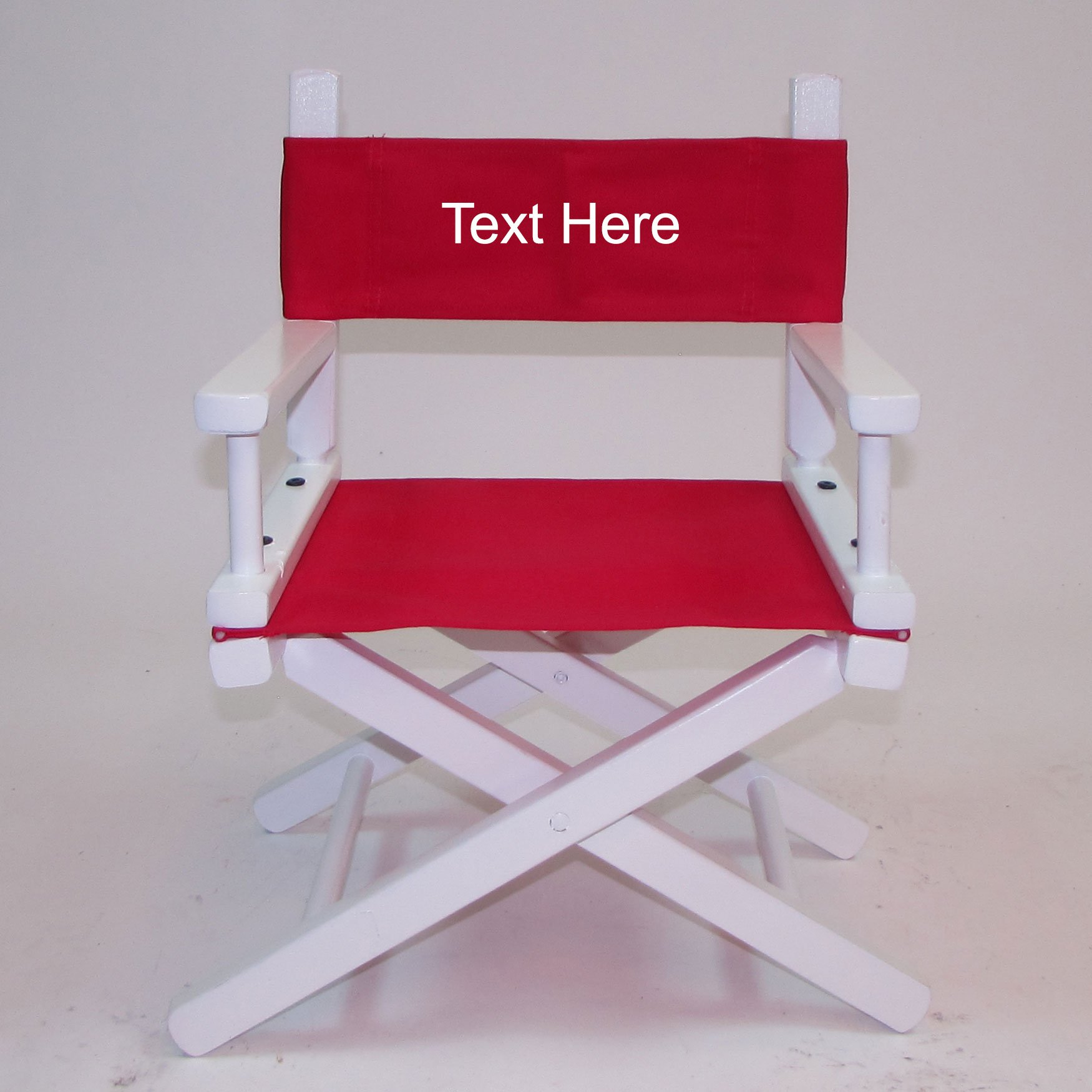 PERSONALIZED IMPRINTED White Frame Toddler's Directors Chair by Gold Medal - Red Canvas by TLT