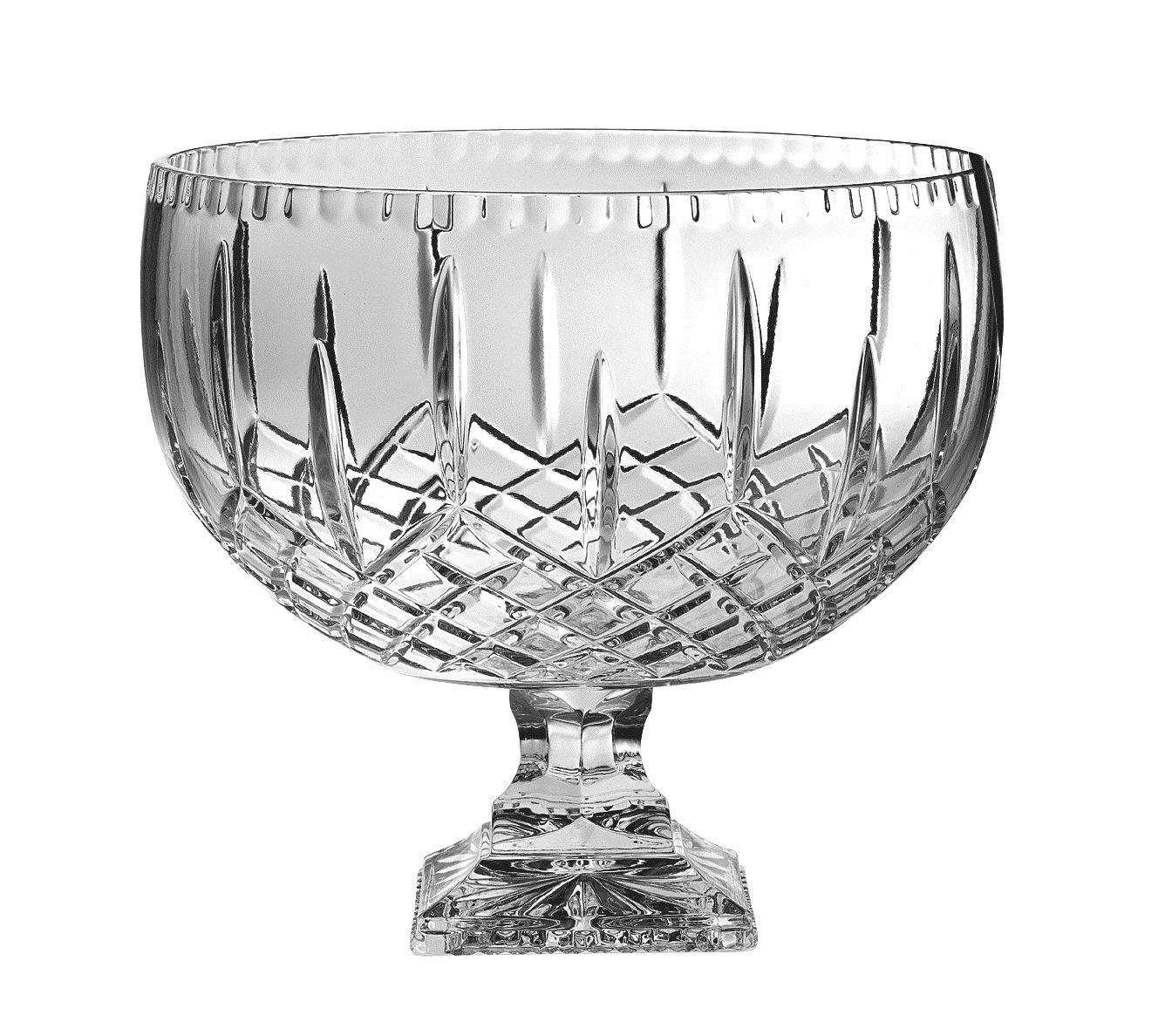 Barski - European Crystal - Handmade - Large Centerpiece Footed Bowl -Punch Bowl - 12'' D - (12'' Diameter ) - 270 oz - 8.5 quarts - Made in Europe