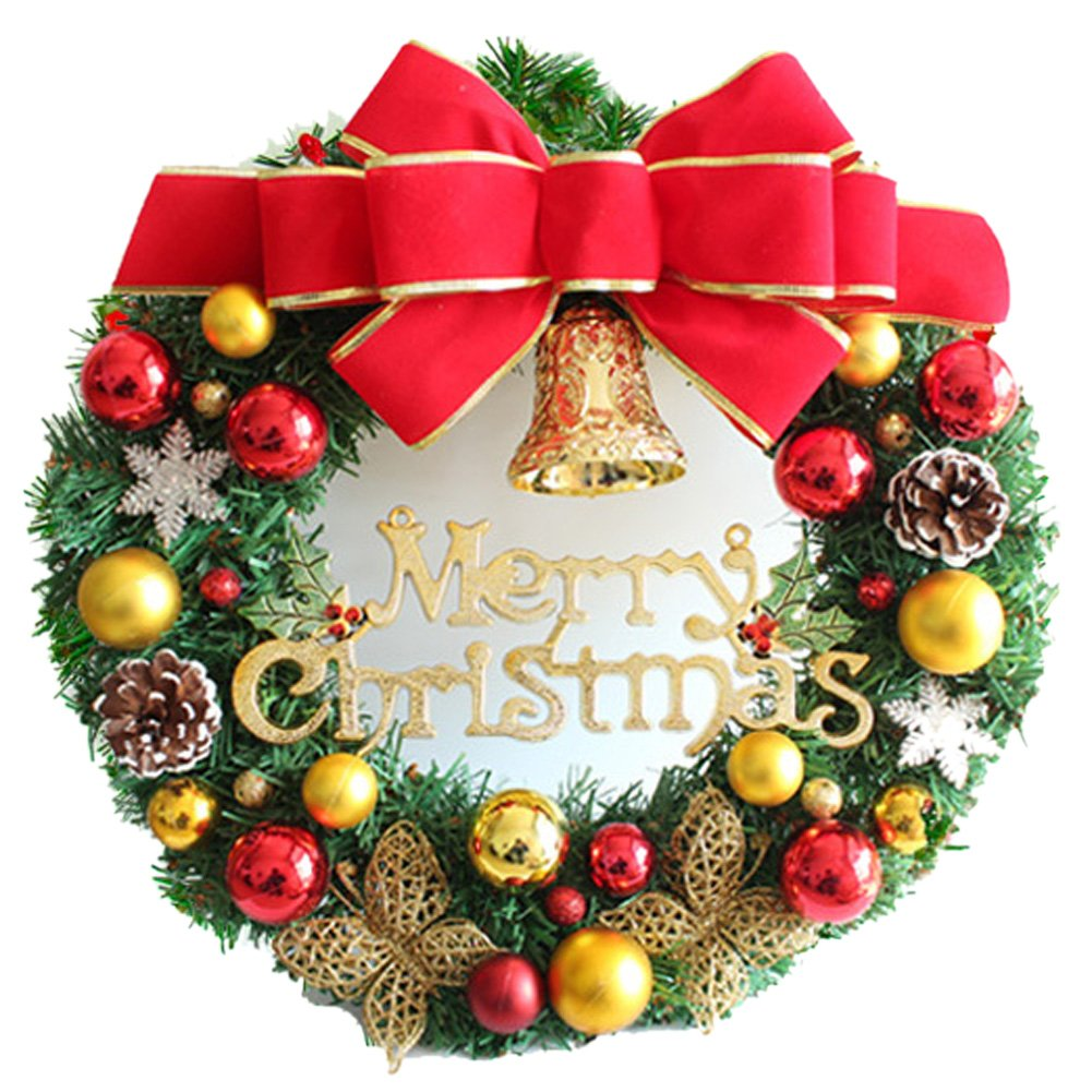 The Red Bow Golden Butterfly Christmas Wreath Garland Ornaments Arcades Hotel Christmas Decorations (35cm) by Unknown (Image #1)