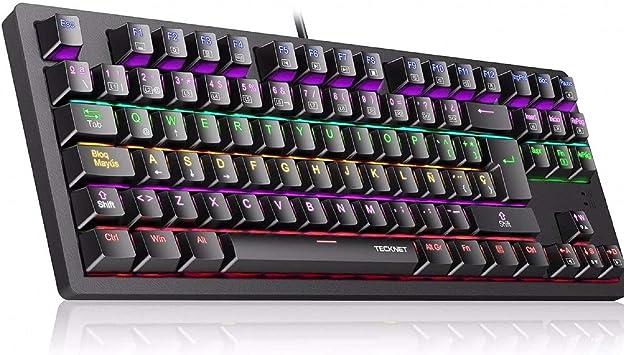 TECKNET Teclado Mecánico Gaming, Teclado Gaming con Interruptores Azul con 88 Teclas 100% Anti-Ghosting, 9 Modos de Retroiluminación LED Ideal para Jugadores: Amazon.es: Electrónica