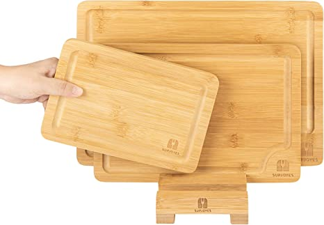 3-Piece Set Best Kitchen Organic Bamboo Cutting Board with Juice Groove