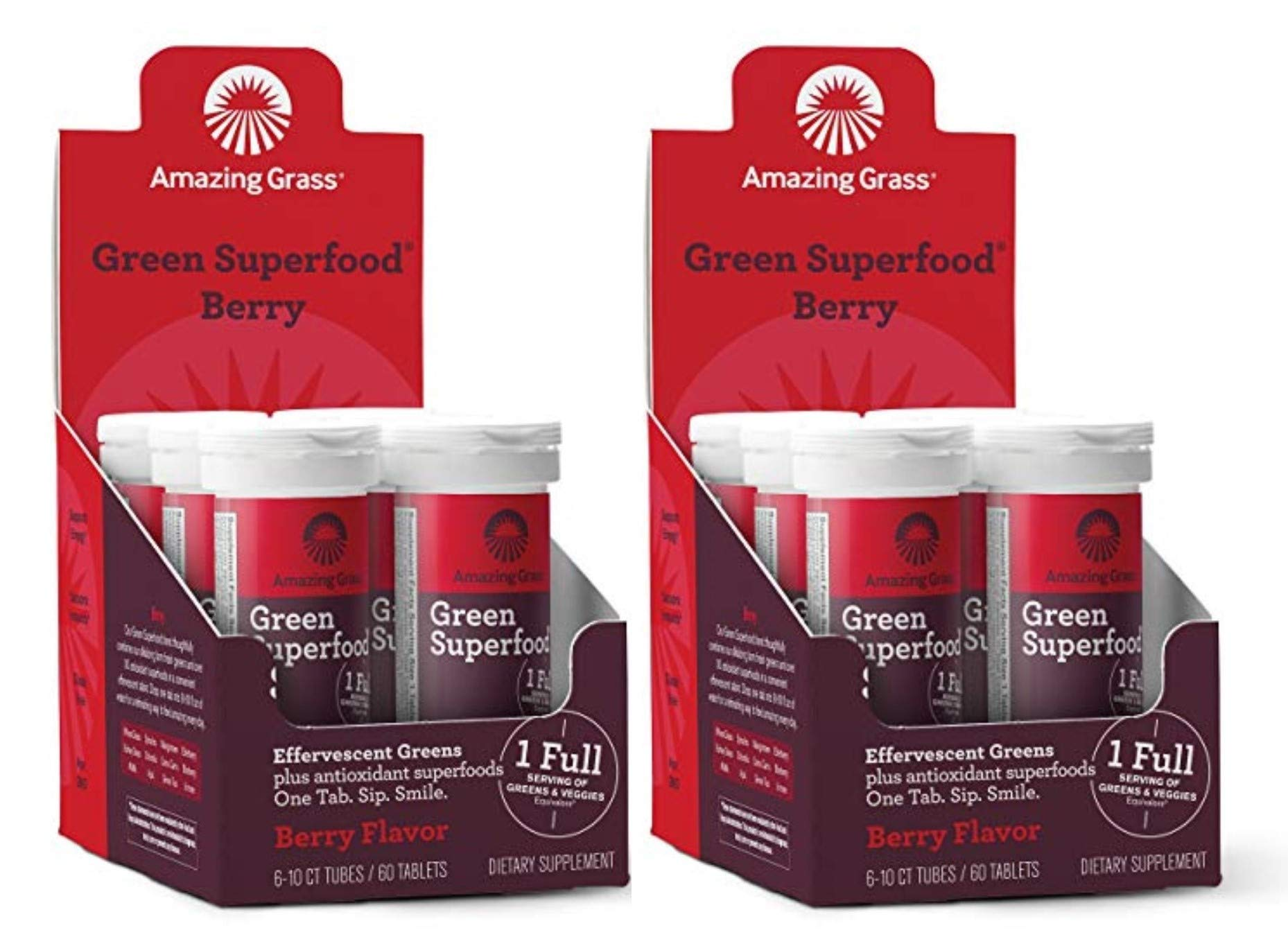 Amazing Grass, Green Superfood Drink Tablets, Flavor: Berry, 120ct Tablets, with Alkalizing Greens and Antioxidant Blend