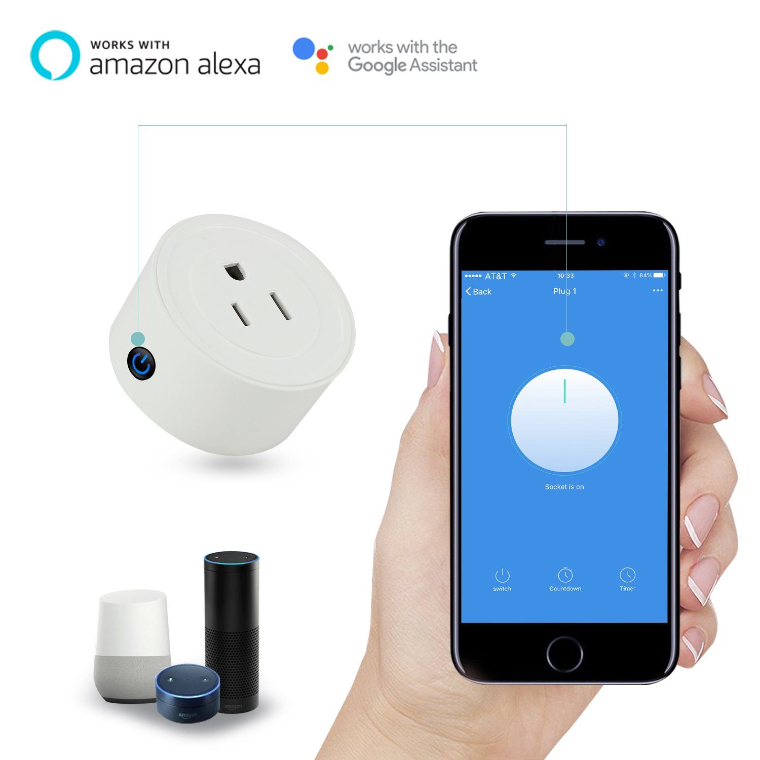Martin Jerry mini Smart Plug Compatible with Alexa, Smart Home Devices Works with Google Home, No Hub required, Easy installation and App control Smart Switch On / Off / Timing (Model: V01) (2 Pack) by Martin Jerry (Image #4)