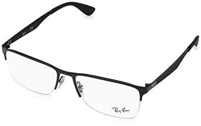 65a83fb7f1713 Ray-Ban Men s 0rx6335 No Polarization Rectangular Prescription Eyewear  Frame Matte Black 54 mm