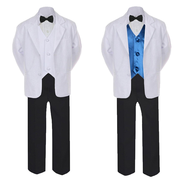 Unotux 5-7pc Formal Black White Suit Set Teal Bow Necktie Vest Boy Baby Sm-20 Teen