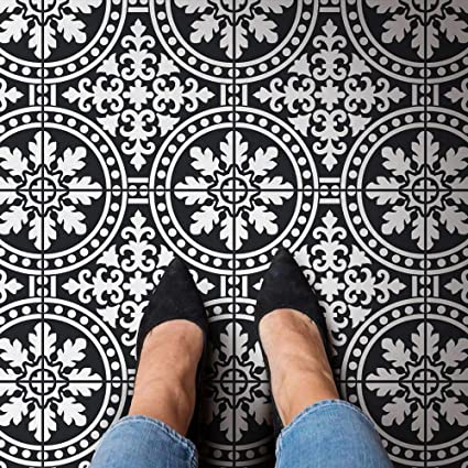 Florenza Tile Stencil - Cement Tile Stencils - DIY Faux Italian Tiles -  Reusable Stencils for Home Decor (Extra Large)