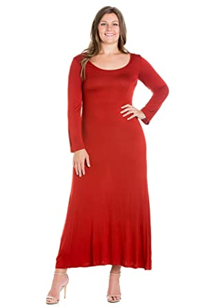 69a338cc9e9 24seven Comfort Apparel Plus Size Clothing for Women Long Sleeve Round Neck Maxi  Dress - Made