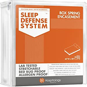 """HOSPITOLOGY PRODUCTS Sleep Defense System - Zippered Box Spring Encasement - Queen - Bed Bug & Dust Mite Proof – Hypoallergenic – 60"""" W x 80"""" L"""