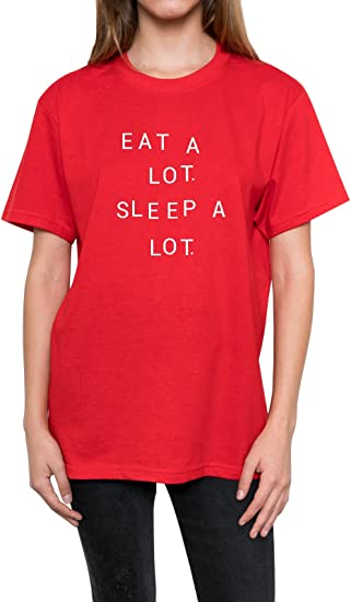 EAT A LOT SLEEP A LOT T SHIRT TOP MENS WOMENS TUMBLR FUN HIPSTER SLOGAN GRUNGE