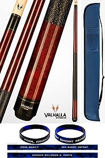 product image for Valhalla by Viking 2 Piece Pool Cue Stick Mahogany VA120 Irish Linen Wrap 18-21 oz. Plus Cue Case & Bracelet (Mahogany VA120, 19)
