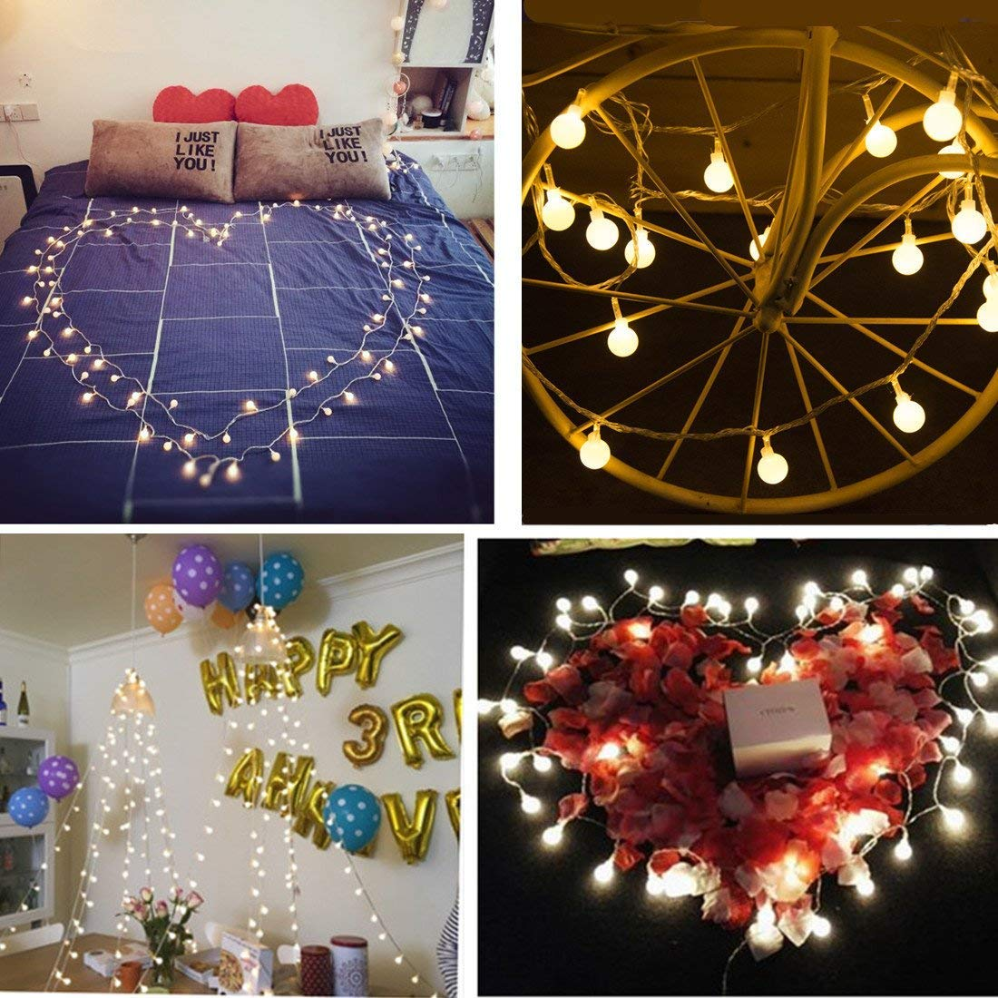 100 LED Globe String Lights, 33ft 8 Modes USB Globe Fairy Lights Remote Control & Timer, Starry Lights Home Party Birthday Garden Festival Wedding Xmas Indoor Outdoor Use - Warm White