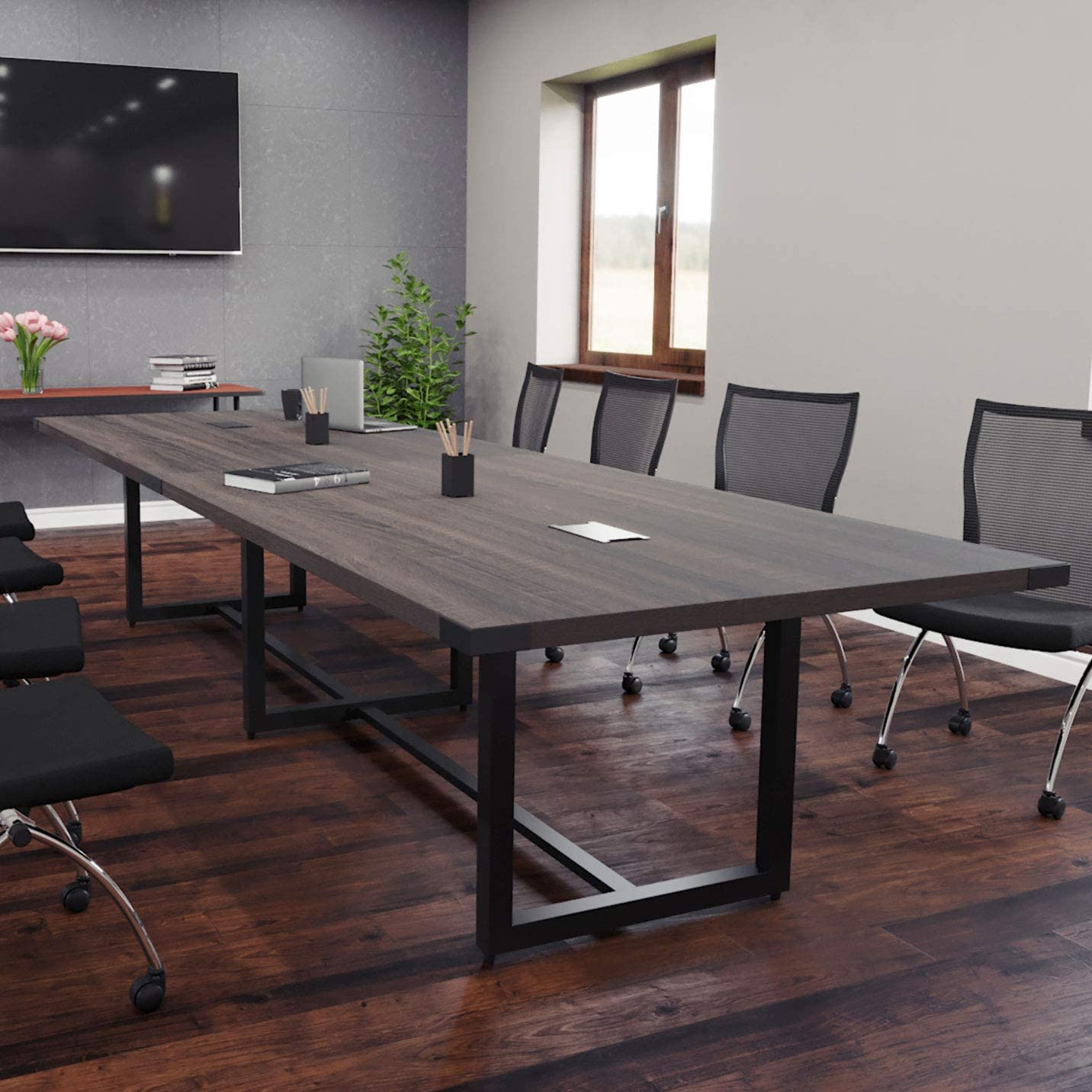 8 Foot - 16 Foot Modern Conference Room Table with Metal Base & Metal Accents (10ft w/ 0 Power Modules, Sand Dune w/Black Metal)