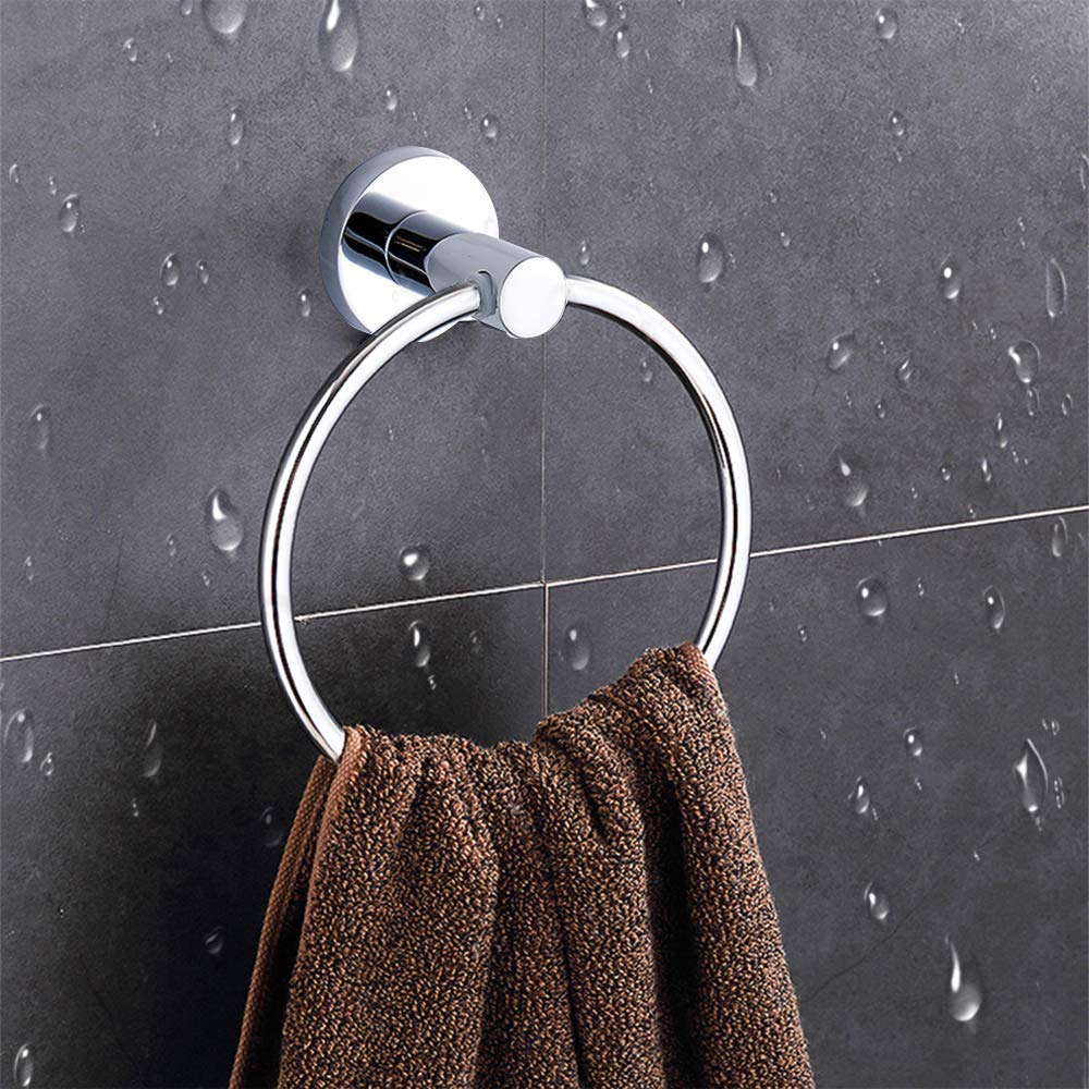 btcus4 Modern Towel Ring Chrome Wall Mounted Towel Rack Brushed Stainless Steel for Bathroom